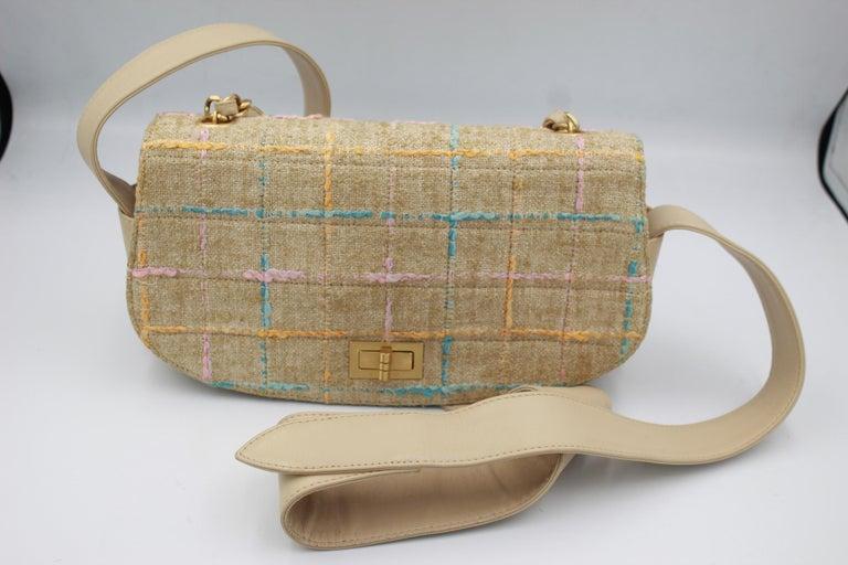 Chanel Multicolor Tweed and Beige Leather Shoulder Bag For Sale 8