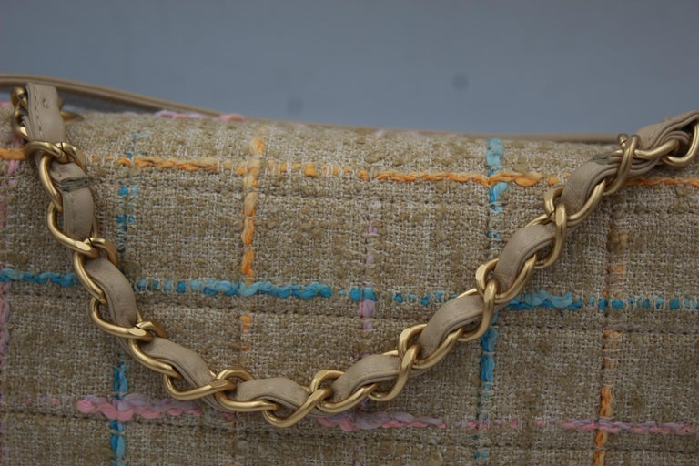 Chanel Multicolor Tweed and Beige Leather Shoulder Bag In Good Condition For Sale In Paris, FR