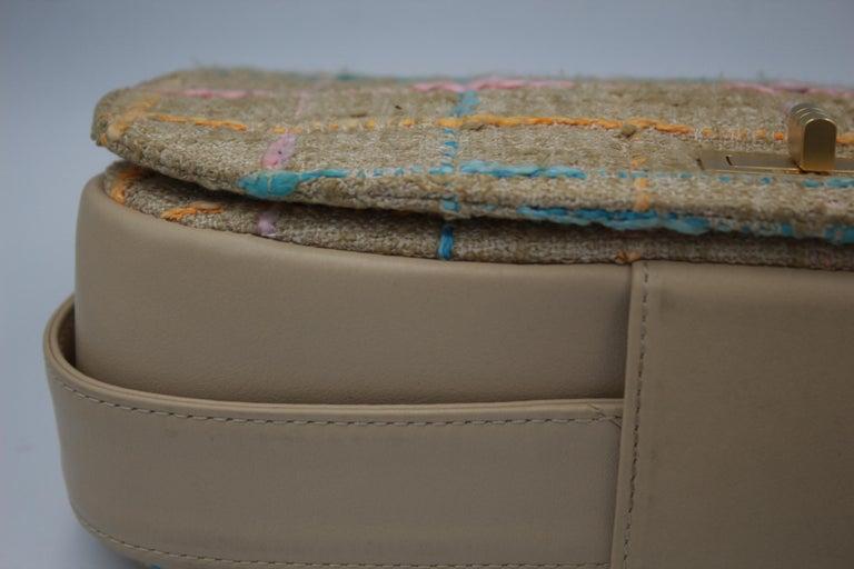 Chanel Multicolor Tweed and Beige Leather Shoulder Bag For Sale 1