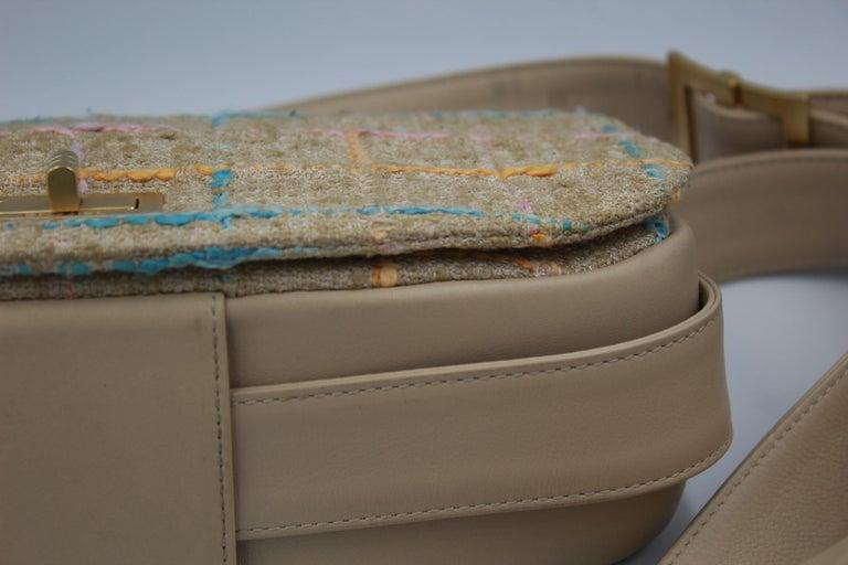 Chanel Multicolor Tweed and Beige Leather Shoulder Bag For Sale 2