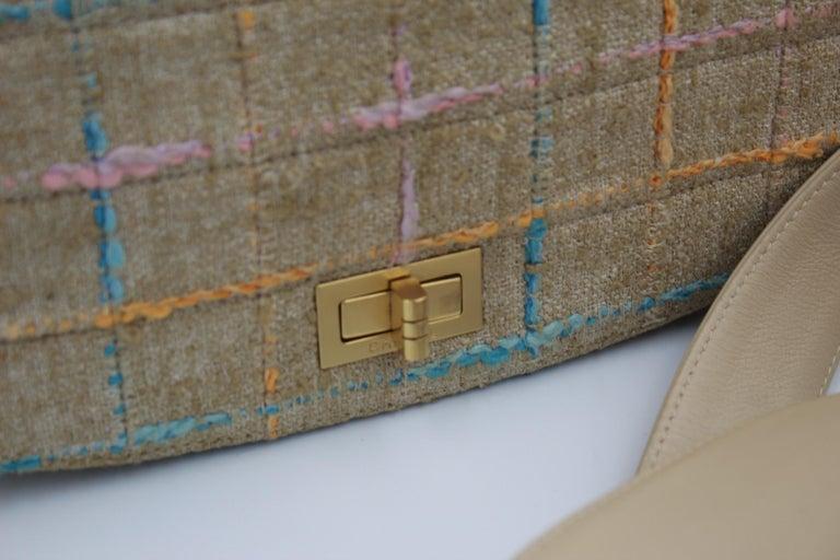 Chanel Multicolor Tweed and Beige Leather Shoulder Bag For Sale 3