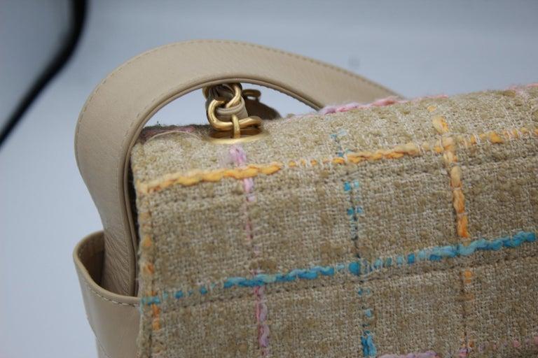 Chanel Multicolor Tweed and Beige Leather Shoulder Bag For Sale 4