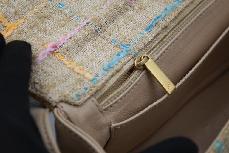Chanel Multicolor Tweed and Beige Leather Shoulder Bag For Sale 5