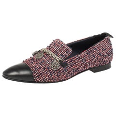 Chanel Multicolor Tweed And Leather Chain Charms Cap Toe Smoking Size 38.5