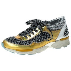 Chanel Multicolor Tweed and Patent Leather Lace Up Sneakers Size 37.5
