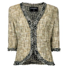 Chanel Multicolor Tweed Cropped Jacket Blazer with CC Logo Trimming