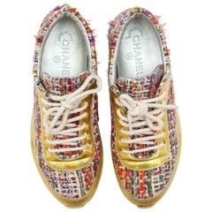 Chanel Multicolor Tweed Espadrille Flats