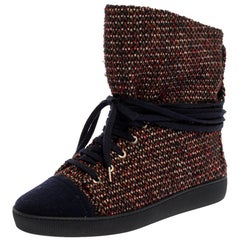 Chanel Multicolor Tweed Fabric Lace Up Ankle Boots Size 39