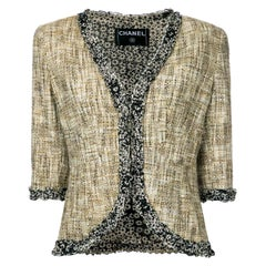Chanel Multicolor Tweed Jacket Blazer with CC Logo Trimming