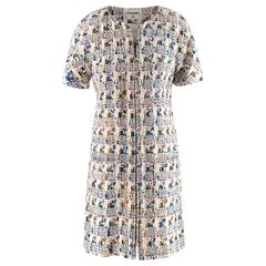 Chanel Multicolor Tweed Short Sleeve Collarless Coat/Dress - Size US 10