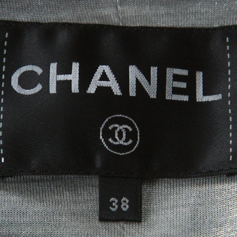 Chanel Multicolor Tweed Silver Closure Detail Fold Over Jacket M For Sale 1