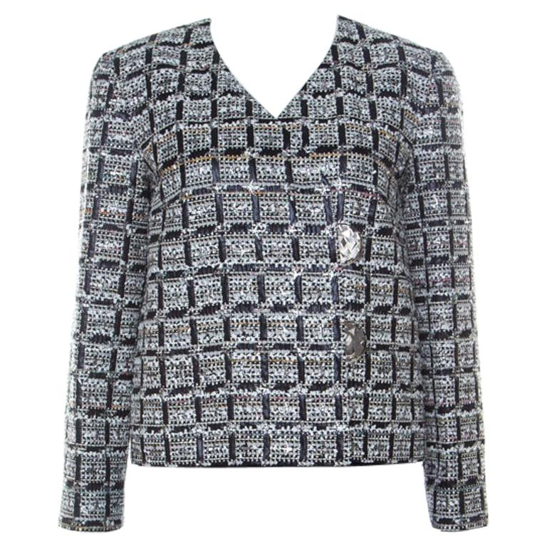 Chanel Multicolor Tweed Silver Closure Detail Fold Over Jacket M For Sale