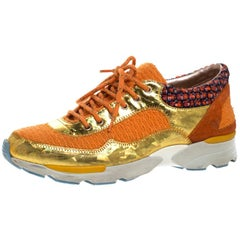 Chanel Multicolor Tweed, Suede and Metallic Leather Lace Up Sneakers Size 37