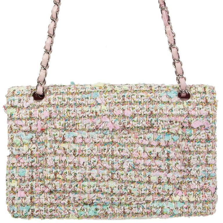 Beige CHANEL multicolor TWEED TIMELESS CLASSIC MEDIUM FLAP Shoulder Bag