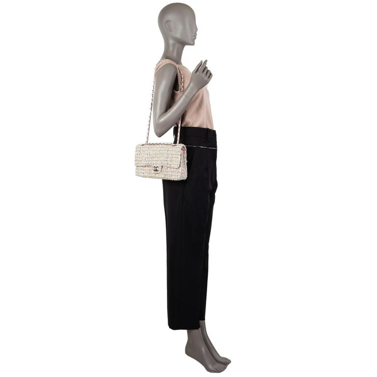 CHANEL multicolor TWEED TIMELESS CLASSIC MEDIUM FLAP Shoulder Bag 4
