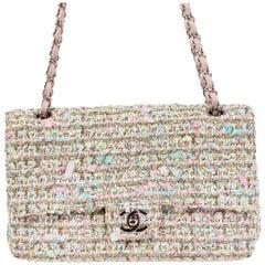 CHANEL multicolor TWEED TIMELESS CLASSIC MEDIUM FLAP Shoulder Bag