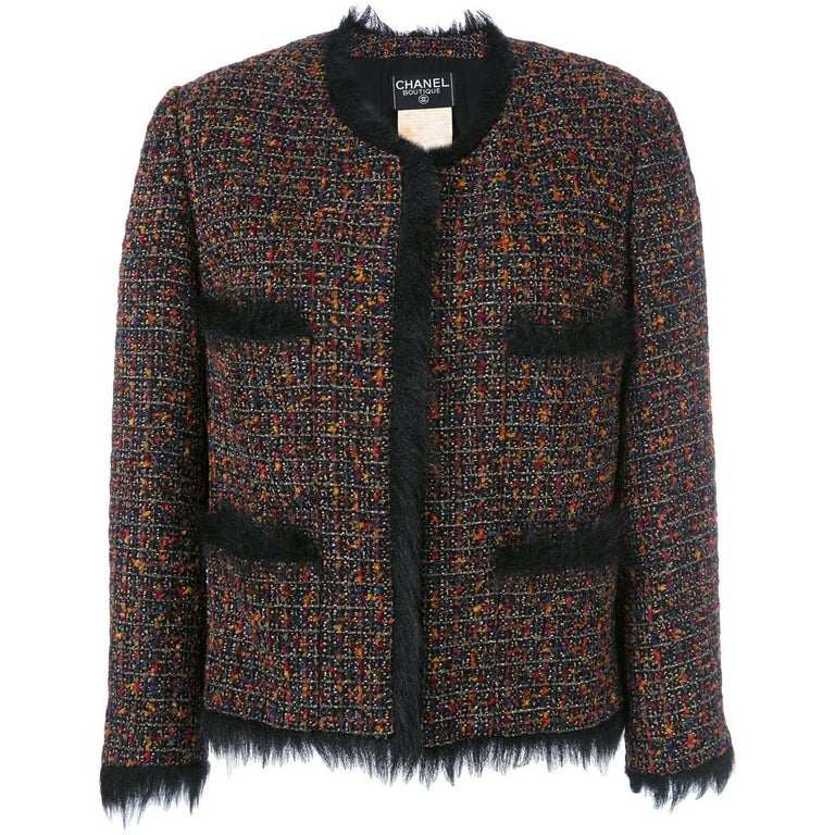 Chanel Multicolor Wool Blend Vintage Jacket, 1990s