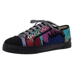 Chanel Multicolor Woven Fabric CC Low Top Sneakers Size 40