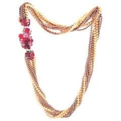 Chanel Multistrand Faux Pearl Necklace with Poured Glass Camellia Accents