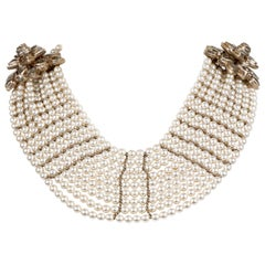 Chanel Multistrand Pearl Bib Runway Necklace