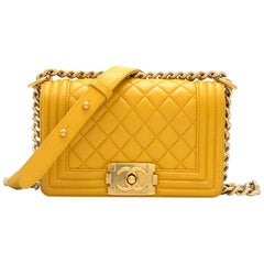Chanel Mustard Yellow Small Boy Bag 20cm