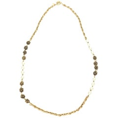 Chanel Nacre Faux Pearl and Gold Knot Necklace