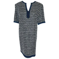 Chanel Navy and White Check Tweed Short Sleeve Dress