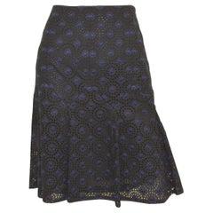 Chanel Navy, Black 06P Floral Eyelet Skirt