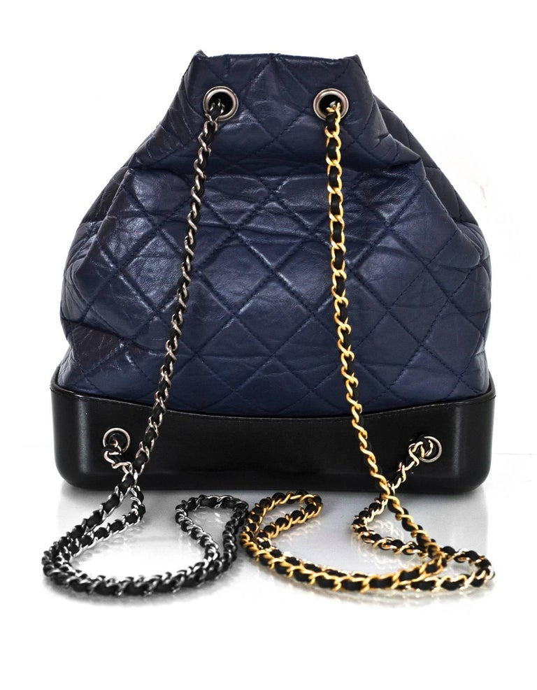 e0d1bf9eaef4c8 Chanel Navy & Black Aged Quilted Calfskin Gabrielle Backpack Bag w. Dust Bag  In Excellent