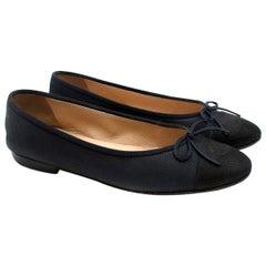 Chanel Navy & Black Caviar Leather Ballerina Flats - Us Size 9.5
