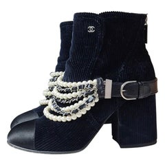 Chanel Navy Black Chest Velvet Cap Toe Pearl Chain Ankle Boots/Booties