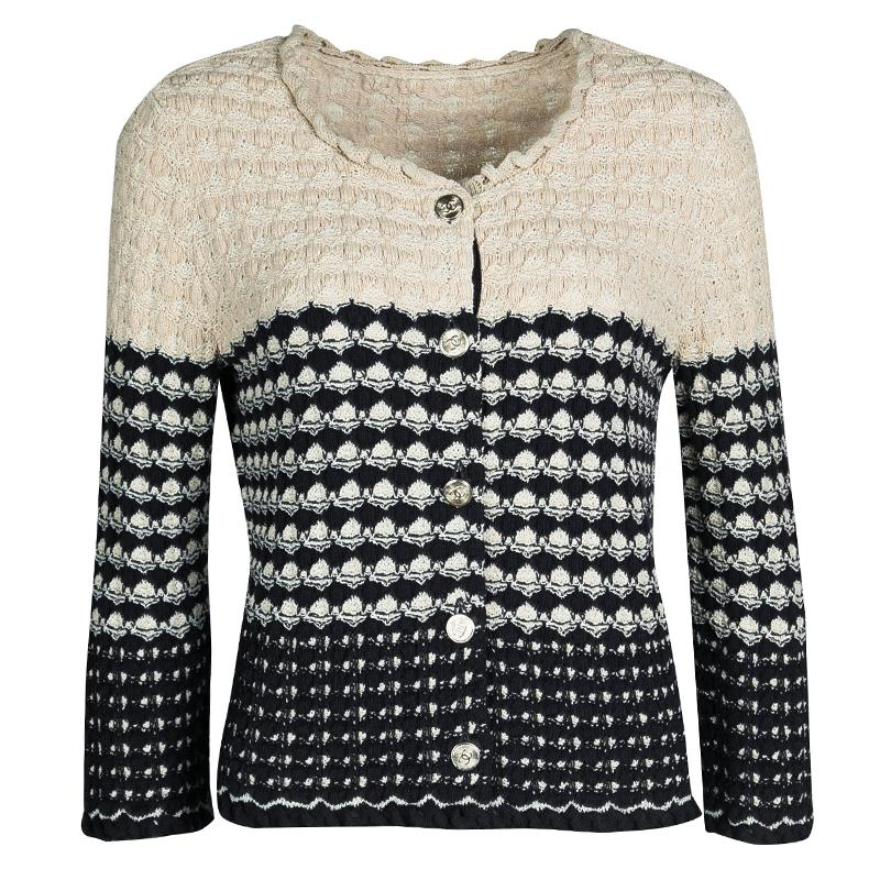 d634af43a48 Chanel Navy Blue and Beige Knit Dress and Cardigan Set M For Sale at 1stdibs