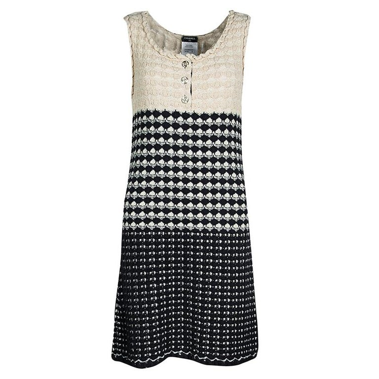 ba07c1bddb4 Women s or Men s Chanel Navy Blue and Beige Knit Dress and Cardigan Set M  For Sale