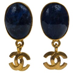 Chanel Navy Blue and Gold Earrings