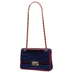 Chanel navy blue and red jersey bag with chain handle