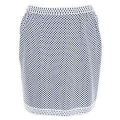 Chanel Navy Blue and White Jacquard Knit Mini Skirt S