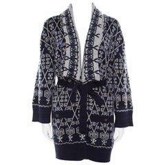 Chanel Navy Blue and White Patterned Knit Cashmere Belted Cardigan M