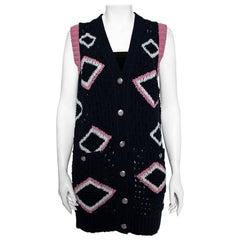Chanel Navy Blue Basket Weave Knit Contrast Pattern Sleeveless Cardigan S