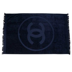 CHANEL navy blue beach towel