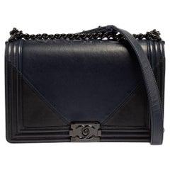 Chanel Navy Blue/Black Leather New Medium Boy Flap Bag