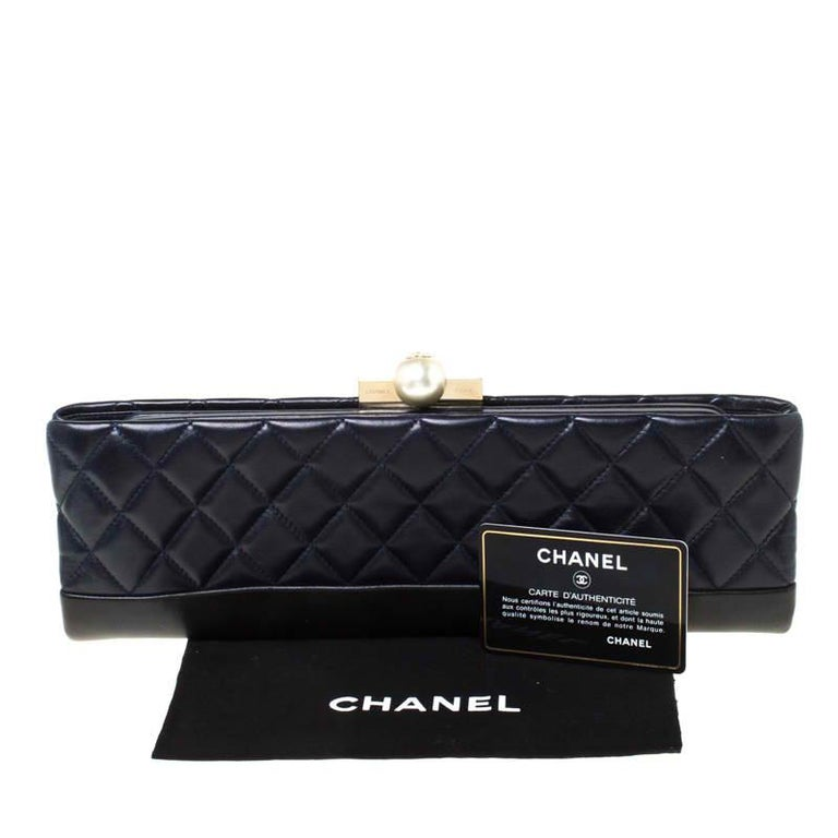 Chanel Navy Blue/Black Quilted Leather Baguette Minaudiere Clutch For Sale 7