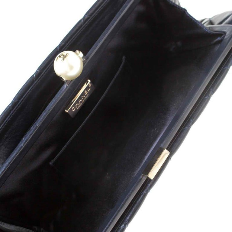 Chanel Navy Blue/Black Quilted Leather Baguette Minaudiere Clutch For Sale 3