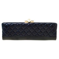 Chanel Navy Blue/Black Quilted Leather Baguette Minaudiere Clutch