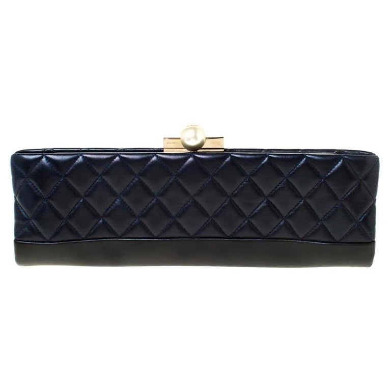 Chanel Navy Blue/Black Quilted Leather Baguette Minaudiere Clutch For Sale