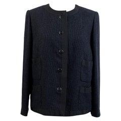 Chanel Navy Blue Bouclé Round Neck Blazer Jacket