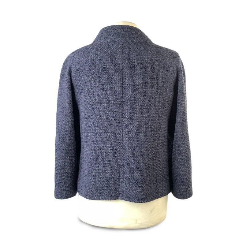 Black Chanel Navy Blue Bouclé Round Neck Blazer Jacket Size 34 For Sale