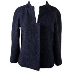 Chanel Navy Blue Bouclé Round Neck Blazer Jacket Size 34