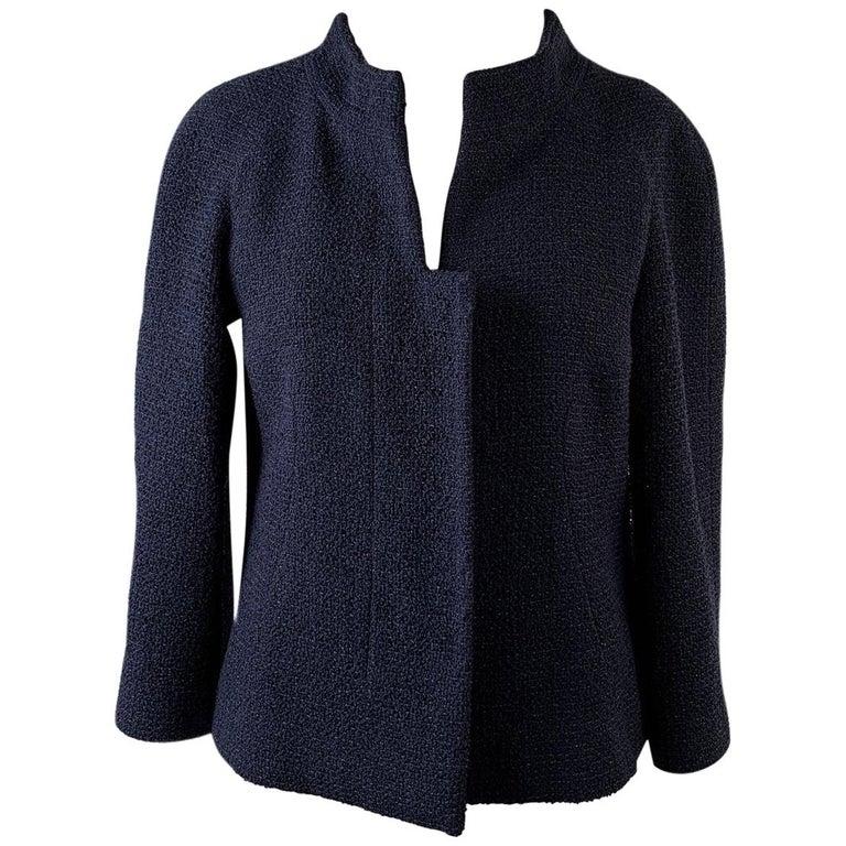 Chanel Navy Blue Bouclé Round Neck Blazer Jacket Size 34 For Sale