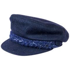 CHANEL Navy Blue Cap Size L
