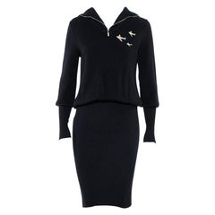 Chanel Navy Blue Cashmere Airplane Detail Fitted Dress S
